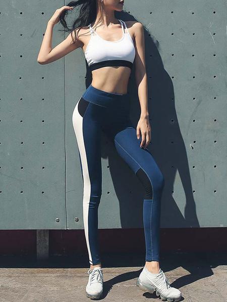 Milanoo Activewear Yoga Clothing Polyester Blue Sexy Workout Clothing Sleeveless Stretchy