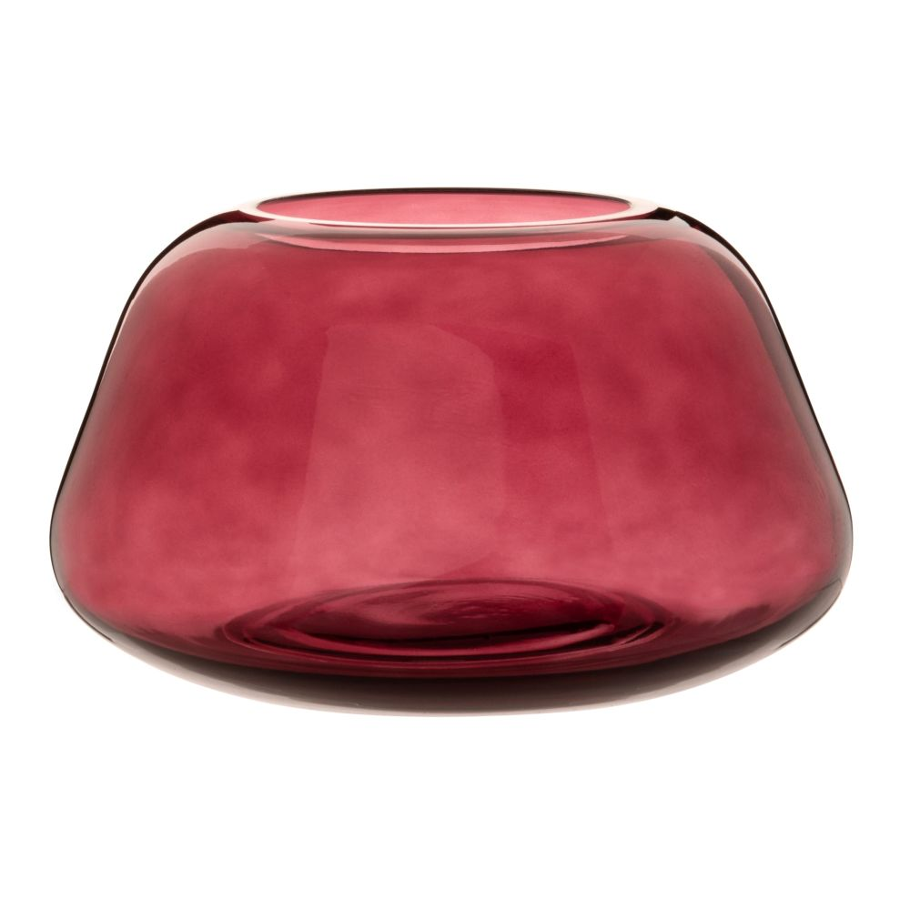 Trapez-Vase aus rotem Glas H12