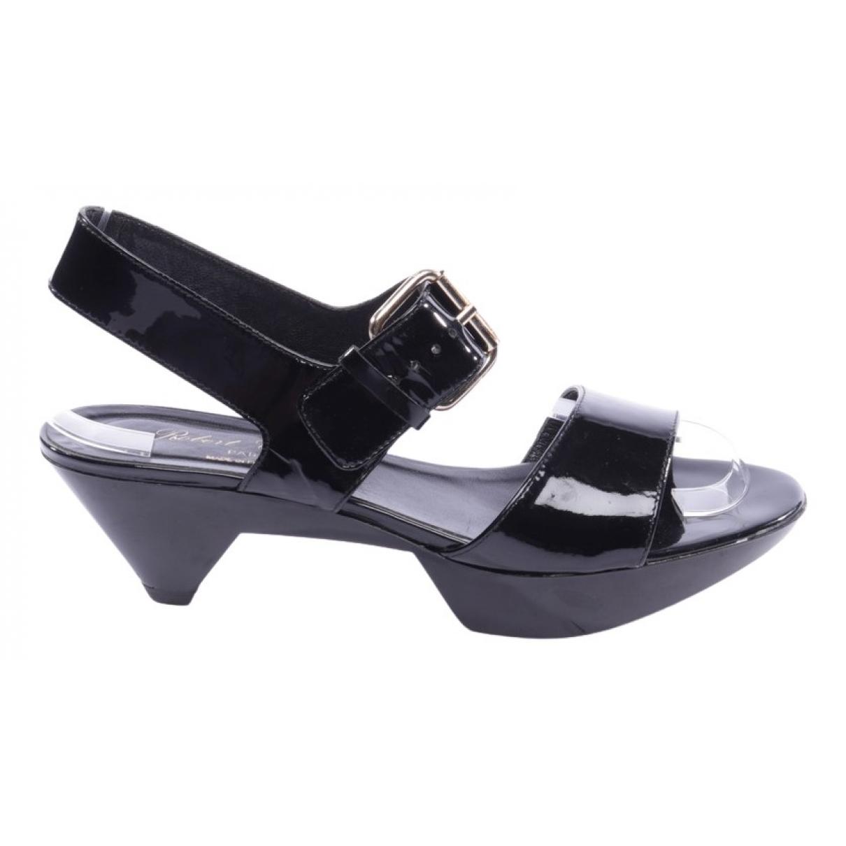 Robert Clergerie N Black Leather Sandals for Women 36.5 EU