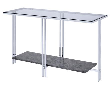 BM204499 Glass Top Metal Sofa Table with Marble Bottom shelf  Silver and