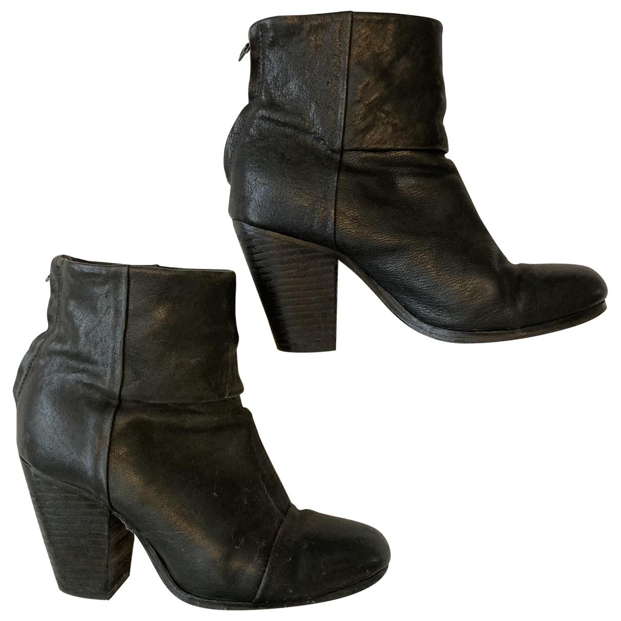 Rag & Bone \N Black Leather Boots for Women 36.5 EU