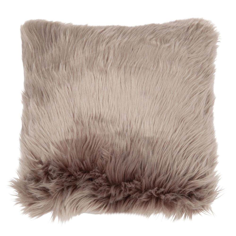 Kissenbezug aus grauem Kunstfell 40x40