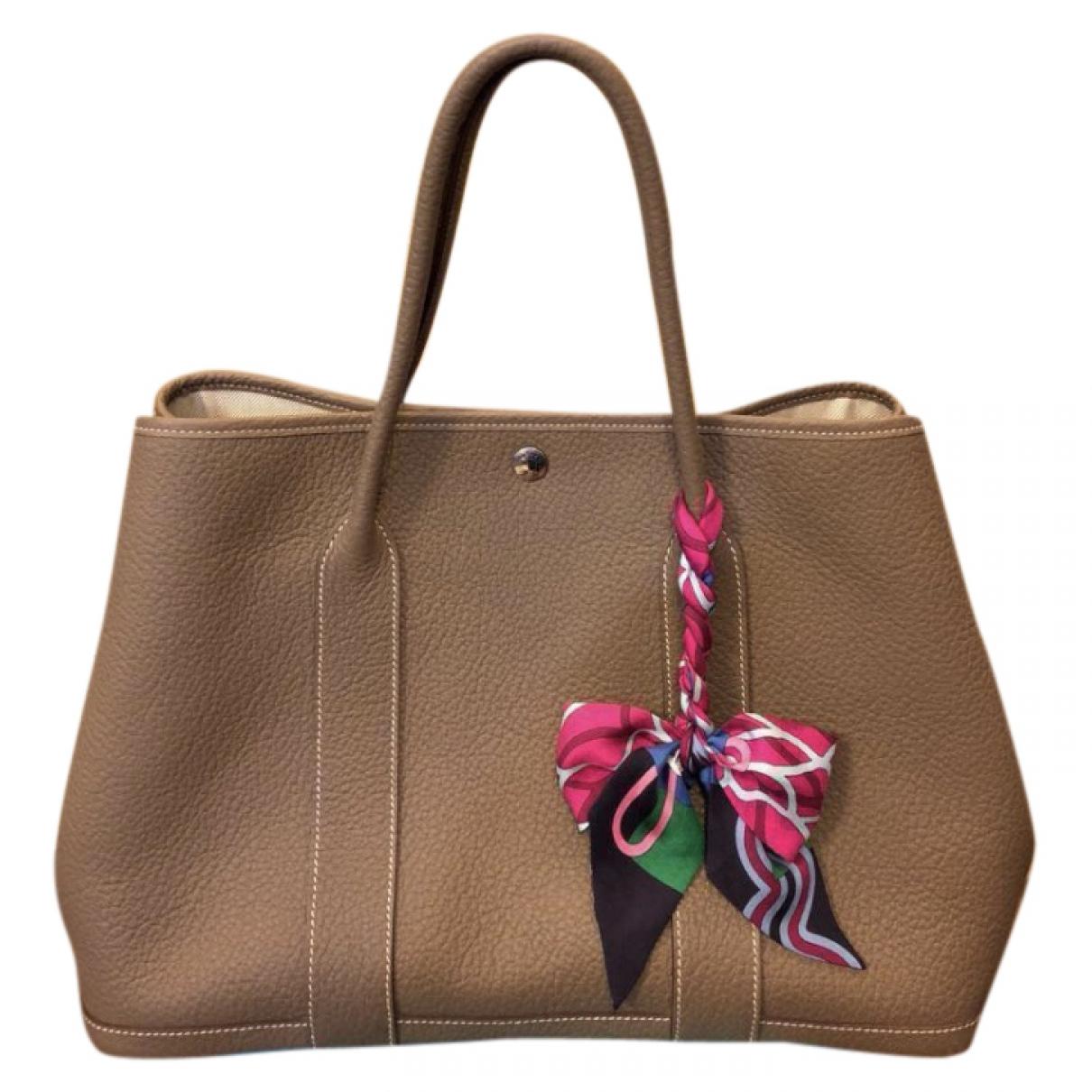 Hermes Garden Party Handtasche in  Braun Leder