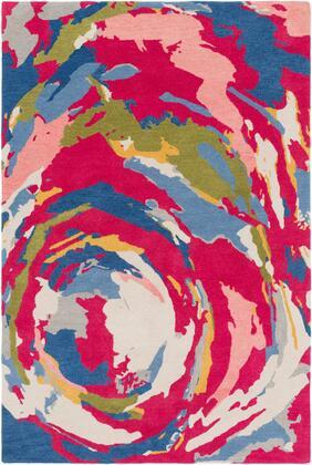 Technicolor TEC-1014 2' x 3' Rectangle Modern Rugs in Lime  Bright Pink  Ivory  Denim  Saffron  Light
