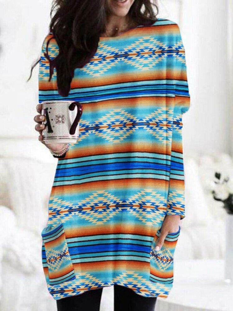 Ethnic Stripe Print Long Sleeve O-neck Vintage Blouse For Women
