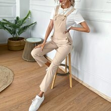 Button Detail Solid Overall Jumpsuit