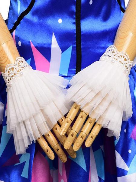 Milanoo Classic Lolita Cuffs Lace Tulle Ruffles Layered White Lolita Accessories