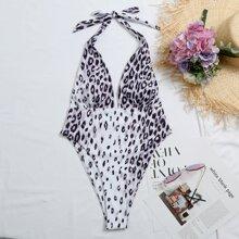 Einteiliger Badeanzug mit Leopard Muster und Neckholder