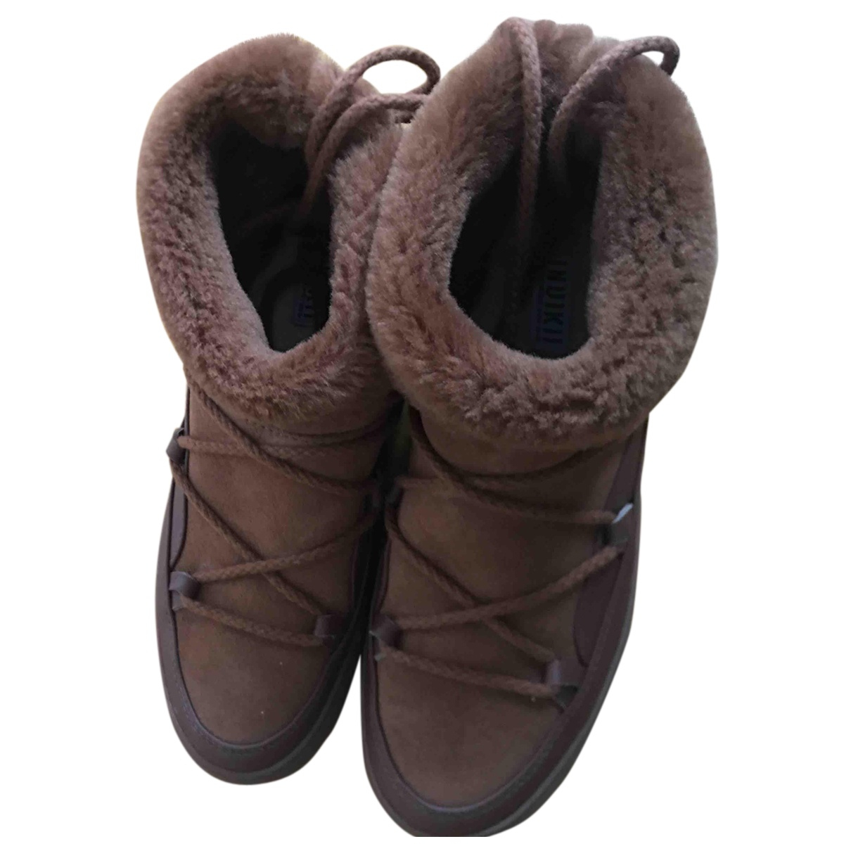 Inuikii - Bottes   pour femme en cuir - beige
