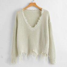 Plus Raw Trim V-neck Sweater