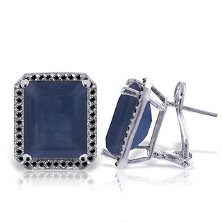 14K Solid Gold French Clips Earrings w/ Black Diamonds & Sapphires (White)