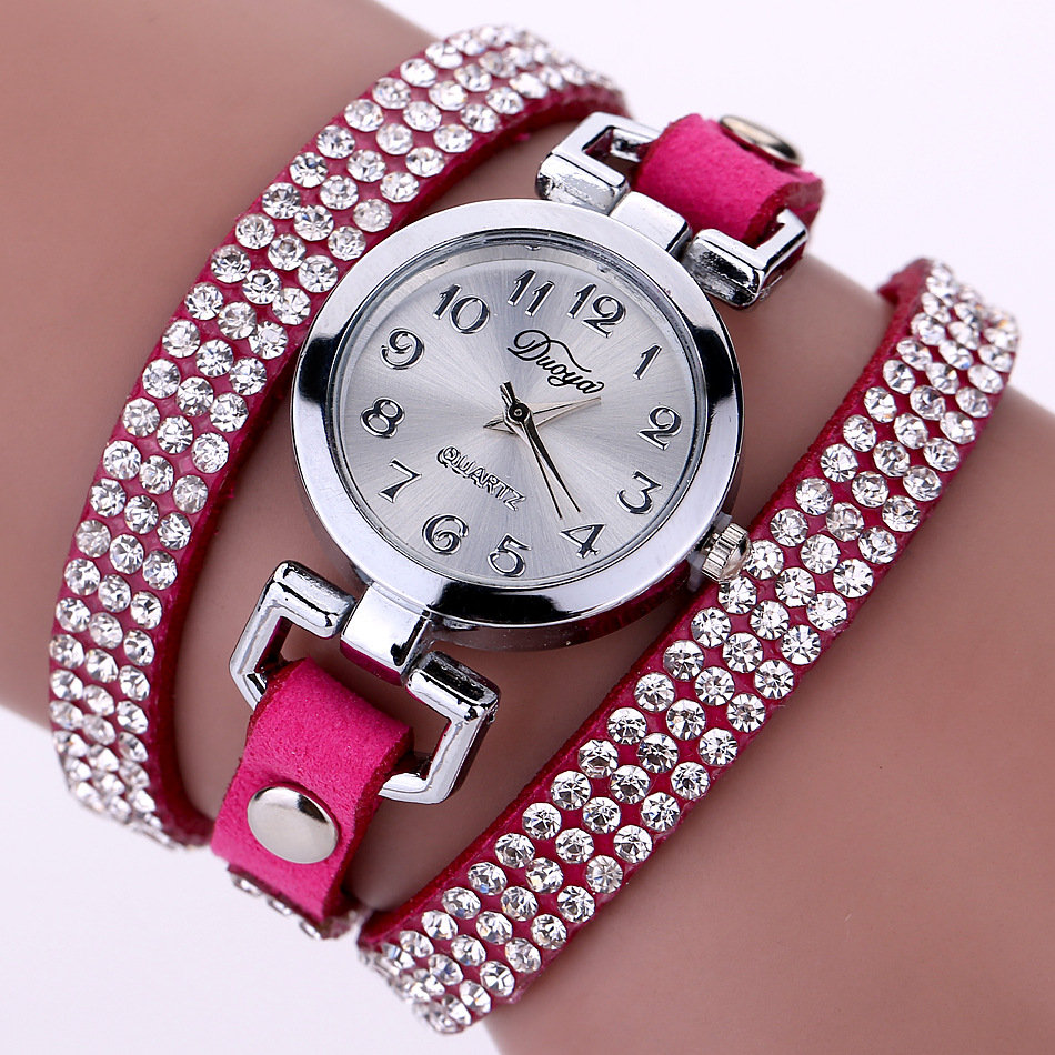 DUOYA Fashion Round Dial Wristwatch Full Rhinestones Bracelet Watch Multilayer Leather Women Watches