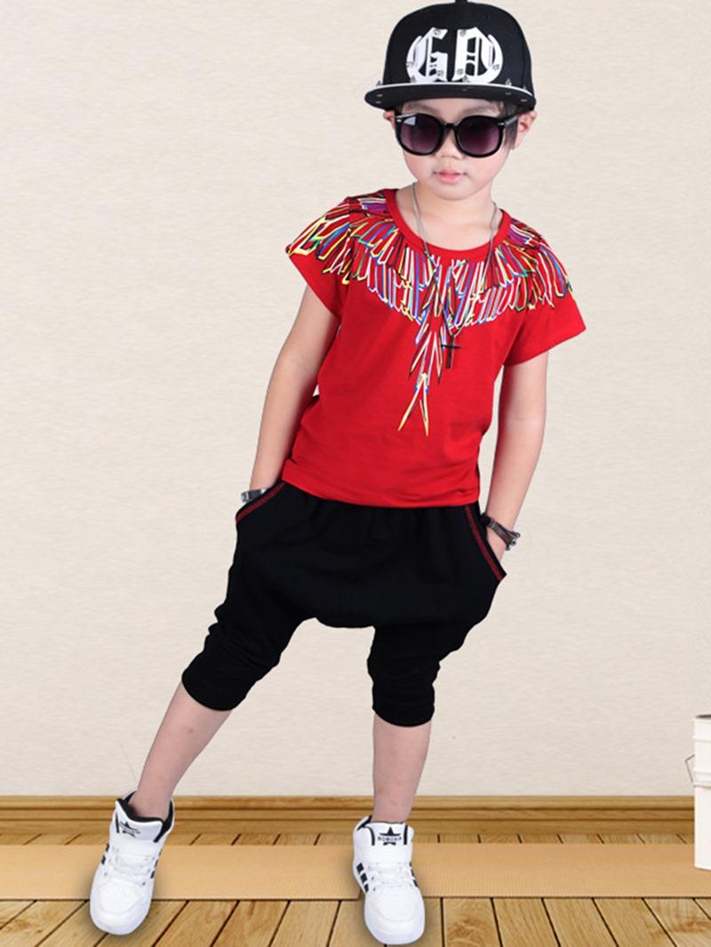 Ericdress Print Casual Summer Boys Suit