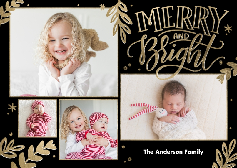 Christmas Photo Cards 5x7 Cards, Premium Cardstock 120lb, Card & Stationery -Christmas Merry and Bright Frames