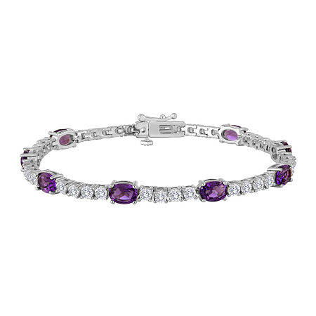 Womens Lab Created Purple Amethyst & Cubic Zirconia Silver Over Brass Tennis Bracelet, One Size , No Color Family