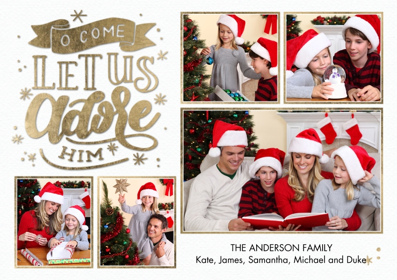 Christmas Photo Cards 5x7 Cards, Premium Cardstock 120lb with Scalloped Corners, Card & Stationery -Christmas Adore Him Hand Lettered by Tumbalina