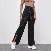 Whip Stitch Slit Hem Cargo Jeans