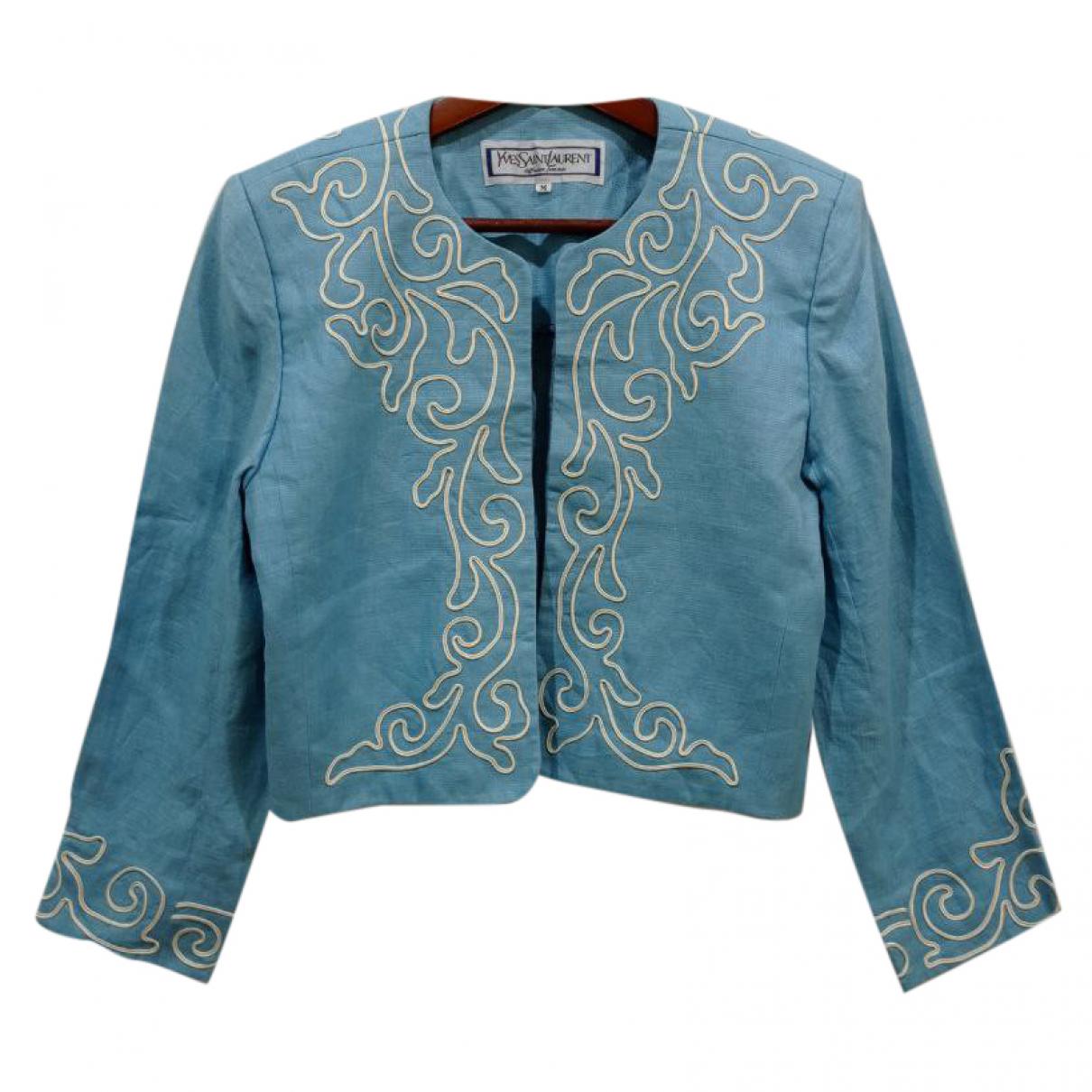 Yves Saint Laurent - Veste   pour femme en coton - bleu