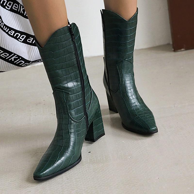 Ericdress Chunky Heel Plain Side Zipper Short Floss Boots