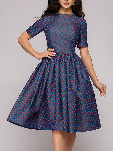 Milanoo Vintage Dress 1950s Dark Navy Polka Dot Short Sleeves Swing Dress For Women