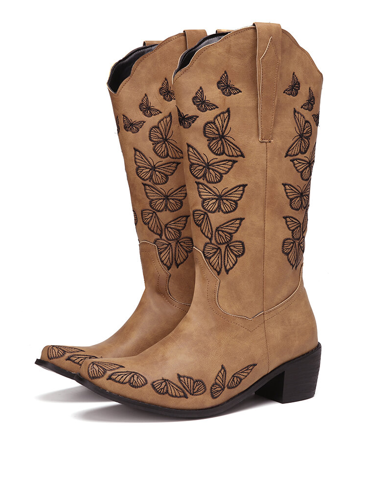 Plus Size Women Retro Butterfly Embroidered Chunky Heel Square Toe Cowboy Boots