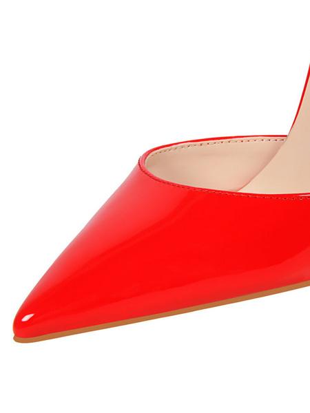 Milanoo Nude tacones altos 2020 punta estrecha hebilla detalle Slingbacks bombas mujeres zapatos de vestir