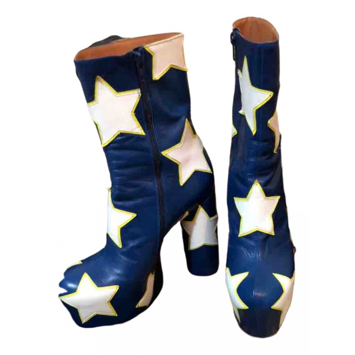 Vetements - Boots   pour femme en cuir - bleu
