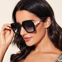 Kunstperlen Decor Square Frame Sonnenbrille mit Etui