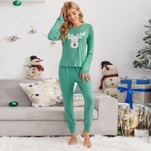 Conjunto de pijama con estampado de Navidad