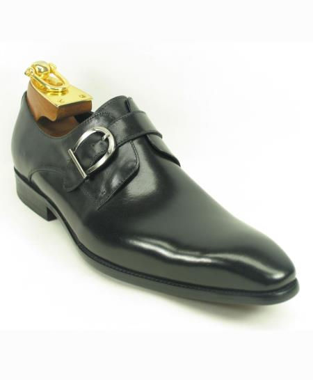 Men's Black Leather Side Buckle Style Slip On Fashionable Shoes
