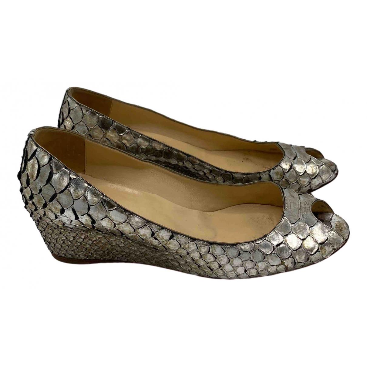 Christian Louboutin \N Silver Python Heels for Women 38 EU