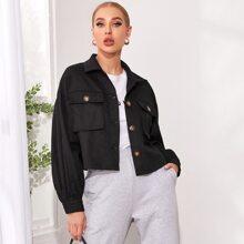 Drop Shoulder Flap Pocket Front Jacket