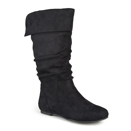 Journee Collection Womens Shelley Wide Calf Slouch Boots, 9 1/2 Medium, Black