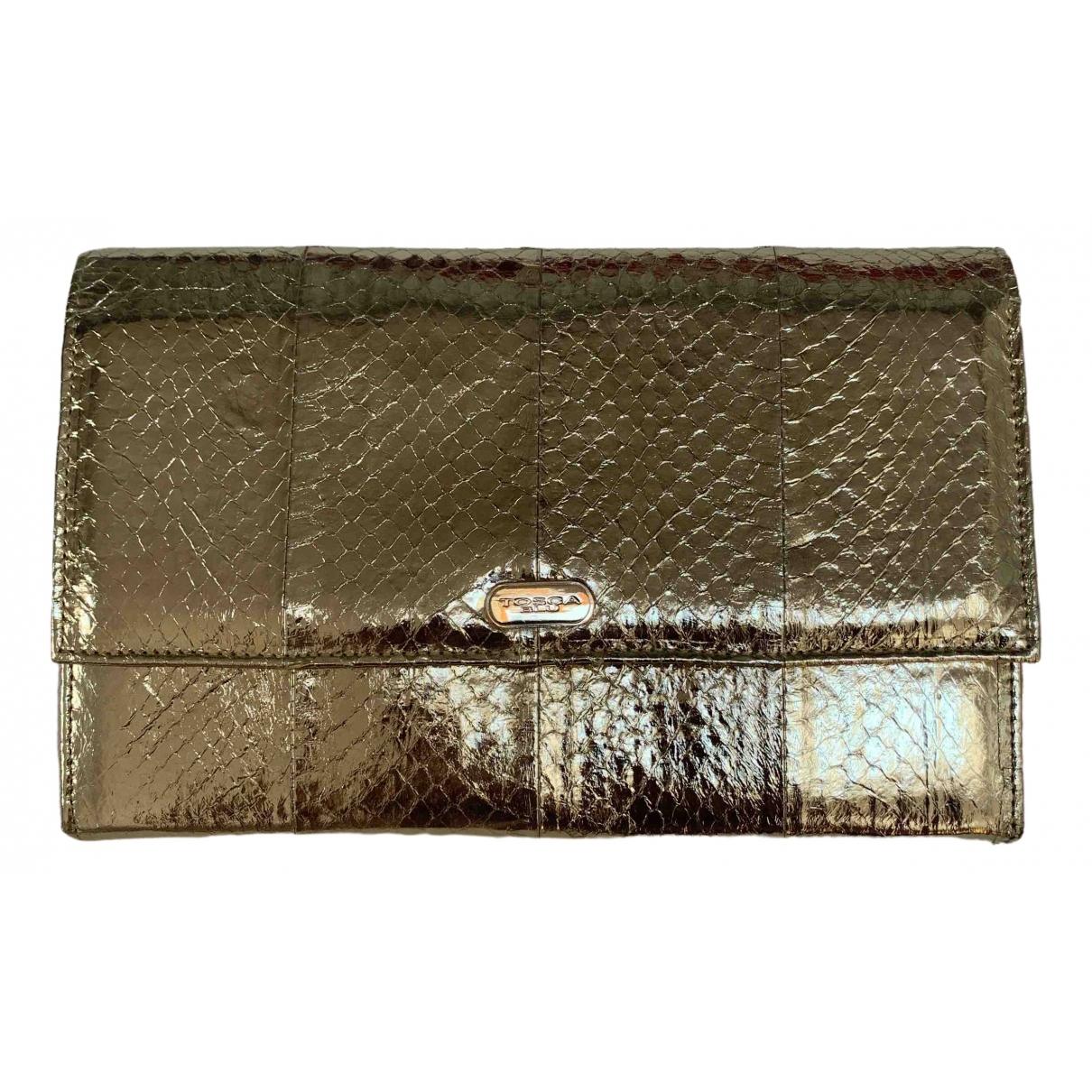 Tosca Blu - Pochette   pour femme en cuir exotique - dore