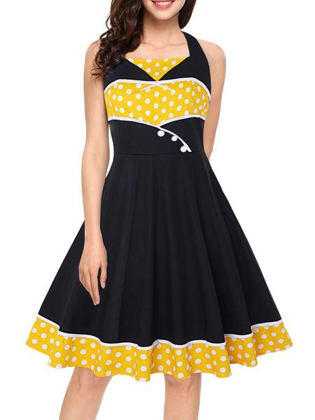Milanoo Vestido vintage con pin up Vestido sin mangas con lunares rojos de los años 50