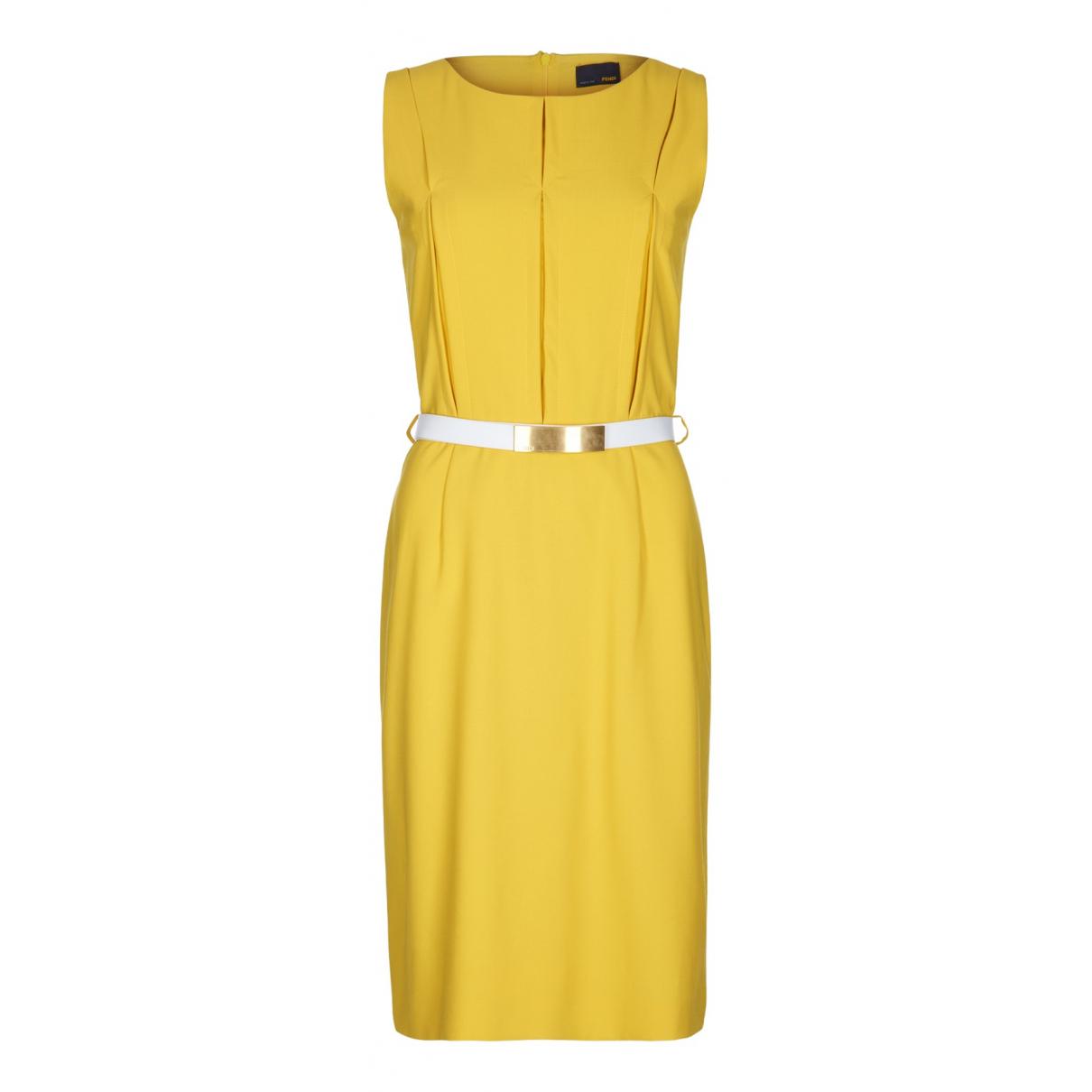 Fendi N Yellow Wool dress for Women 10 UK