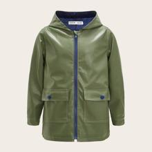 Boys Flap Pocket Front PU Leather Coat