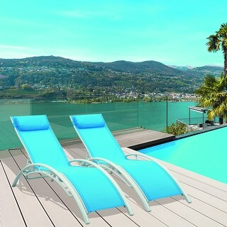 Patio Adjustable Reclining Chaise Lounge Chair (Set of 2) (Blue)