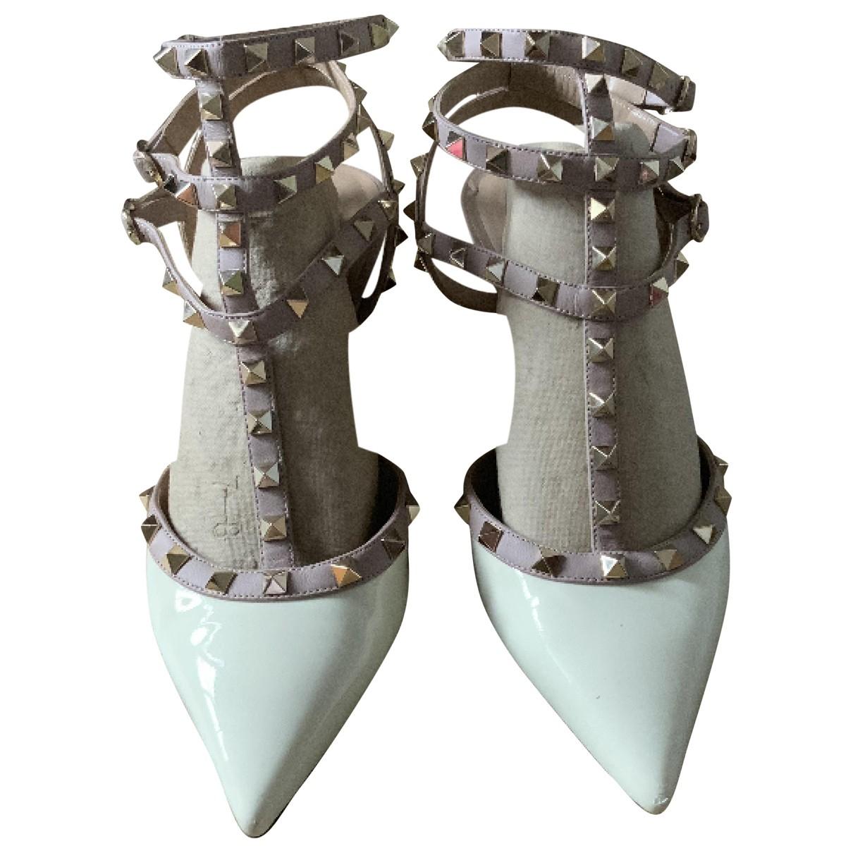 Valentino Garavani Rockstud Beige Leather Heels for Women 40.5 IT