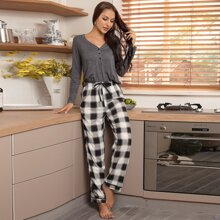 Half Button Tee & Plaid Pants Pajama Set