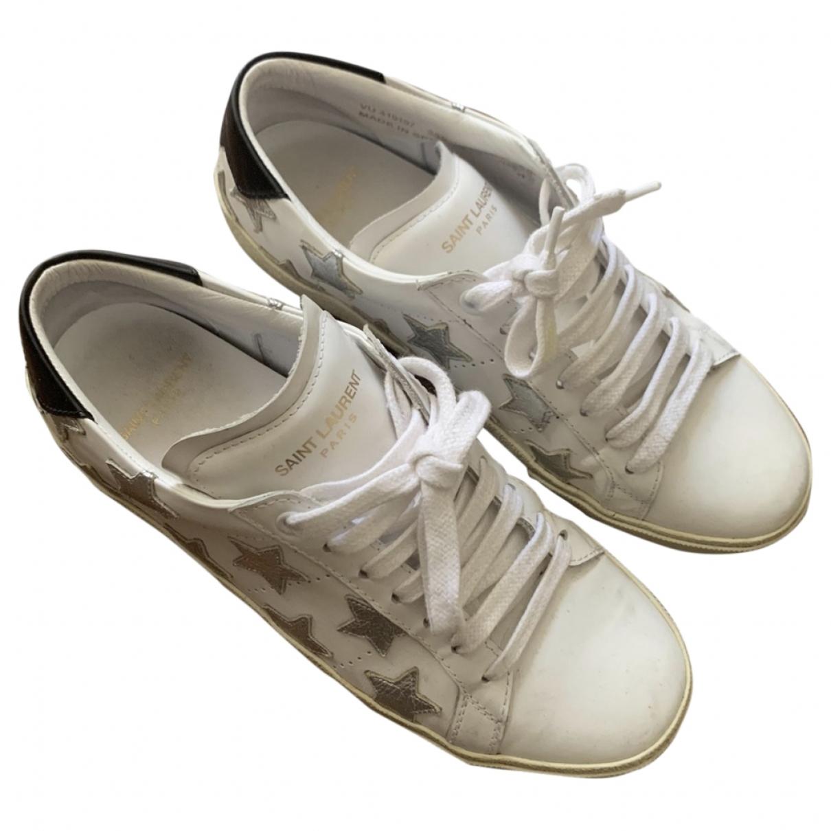 Saint Laurent Court White Leather Trainers for Women 39 EU