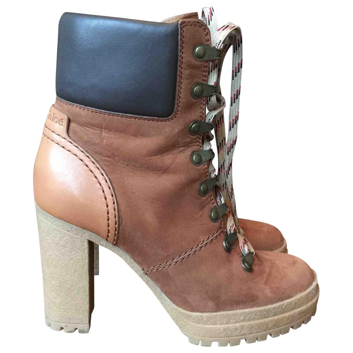 See By Chloe - Boots   pour femme en suede - marron