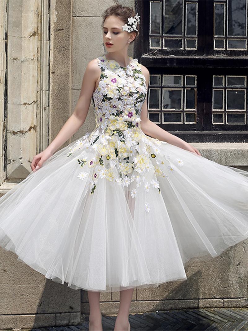 Ericdress A Line Hand Made Flower Tea Length Prom Dress