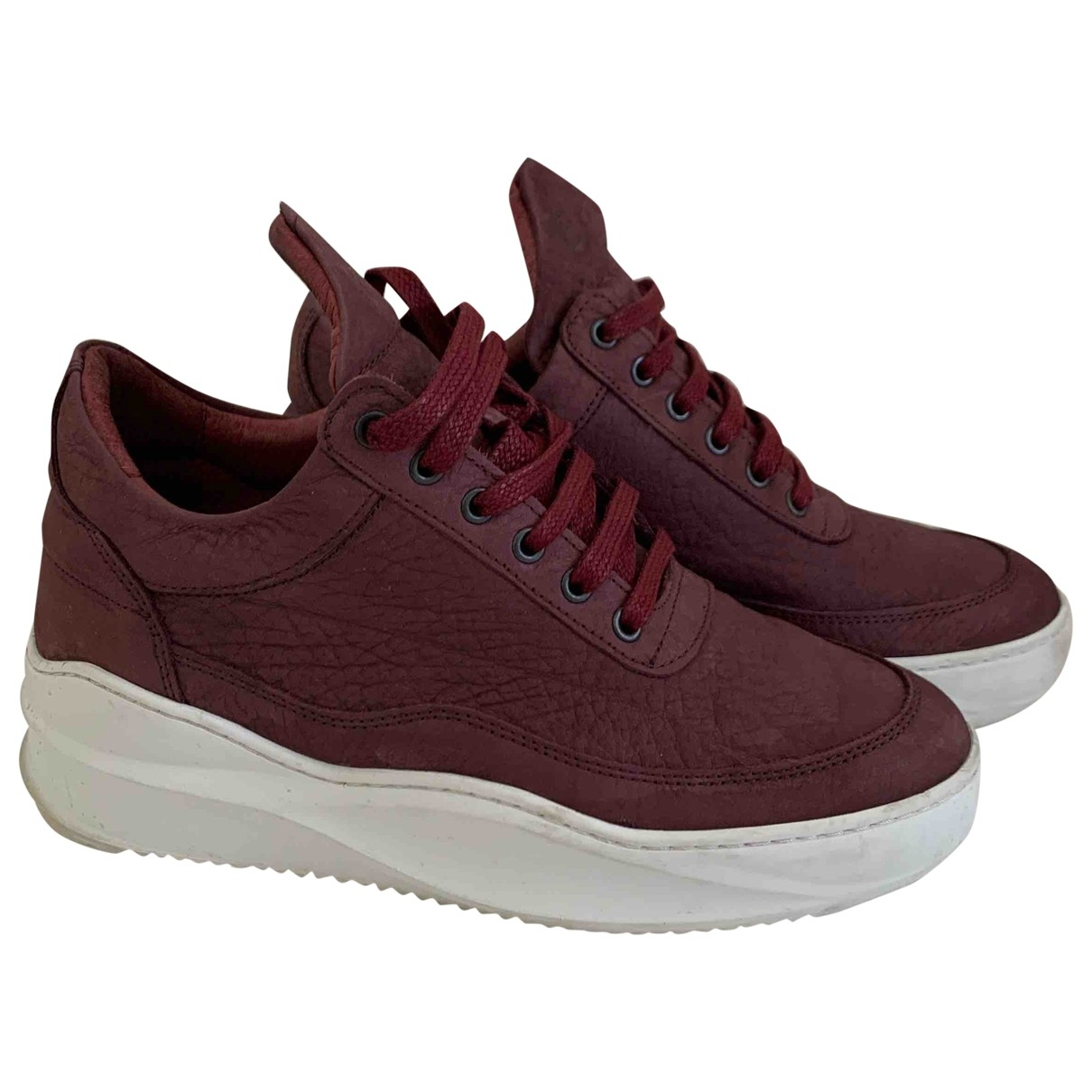 Filling Pieces \N Burgundy Leather Trainers for Women 37 EU