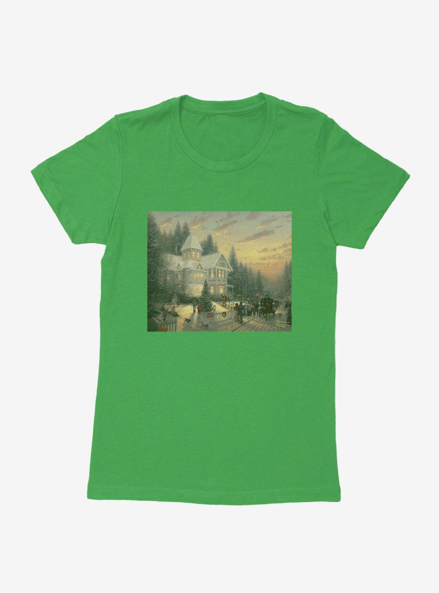 Thomas Kinkade Victorian Christmas Womens T-Shirt