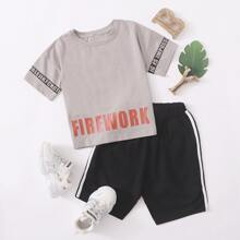 Toddler Boys Slogan Graphic Tee & Side Tape Shorts