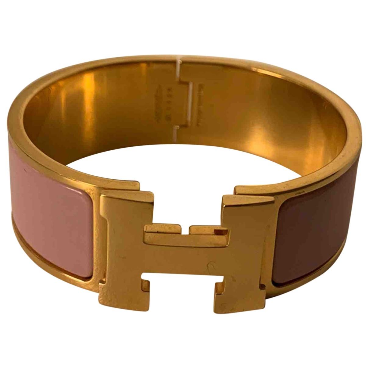 Hermes - Bracelet Clic H pour femme en acier - rose
