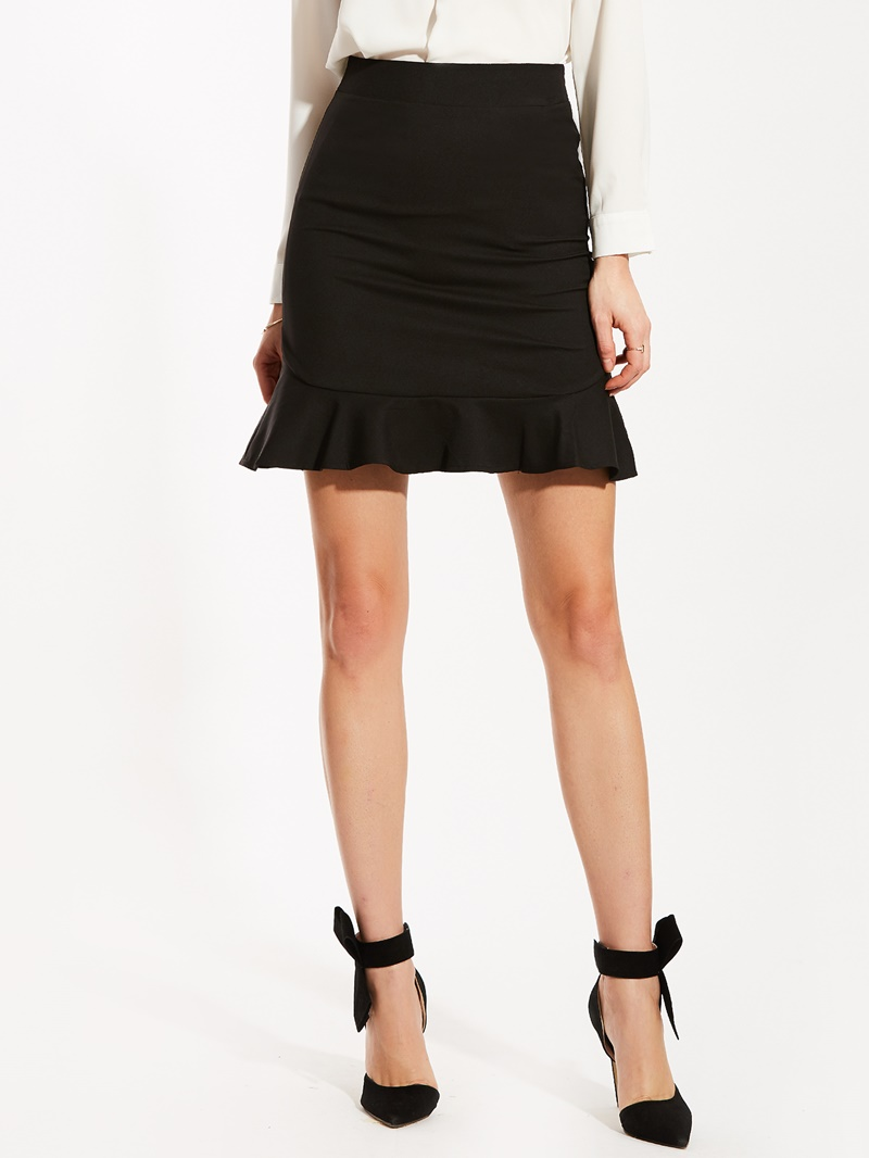 High-Waist Falbala Patchwork Mermaid Skirt