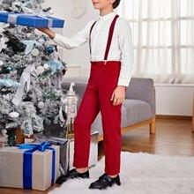 Boys Pocket Front Shirt & Suspender Pants Set