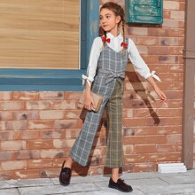 Girls Spliced Plaid Belted Flare Leg Overall Jumpsuit